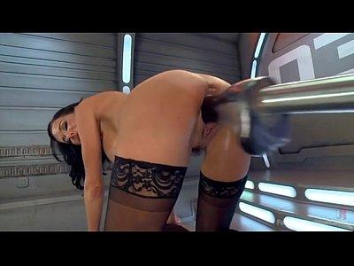 hot babe has trembling orgasms on dildo machine