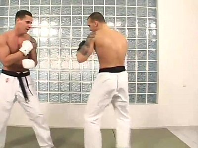 Martial arts hunks hot deepthroat cock sucking