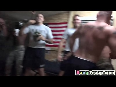 Tattooed Gay Soldier Strokes Dick While Getting Asshole Hammered