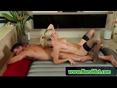 Masseuse with black Stockings sucks big cock - Marco Banderas & Amanda Tate