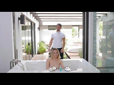Tiny4K - Petite blonde Aubrey Sinclair sucks on huge cock