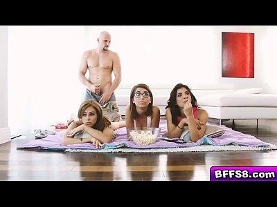 Sweet Lili, Gina and Joseline sucking a large meaty dick