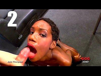Ebony cumslut swallows over 30 loads