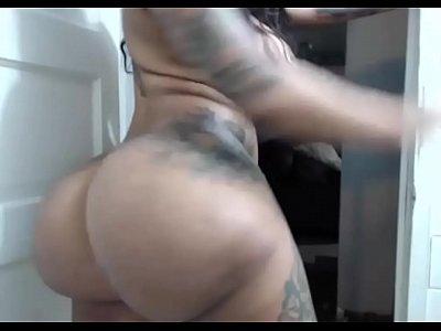 Ebony with Huge black boobs dildo tittyfuck on webcam