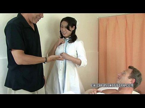 Asian MILF Fujiko pounds two dicks