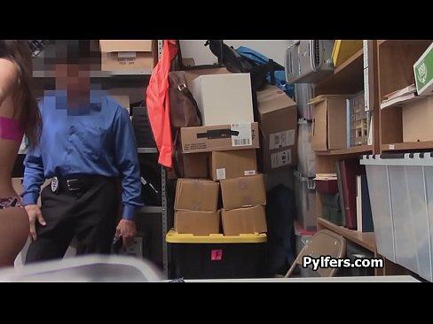 Security guard bangs perky teen pilfer