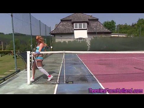 Tennis teen rubs pussy