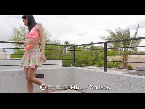 FantasyHD Brunette Rhaya Shyne fucks big dick pool boy
