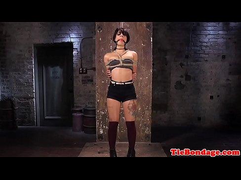 BDSM babe tiedup for fingerbanging punishment