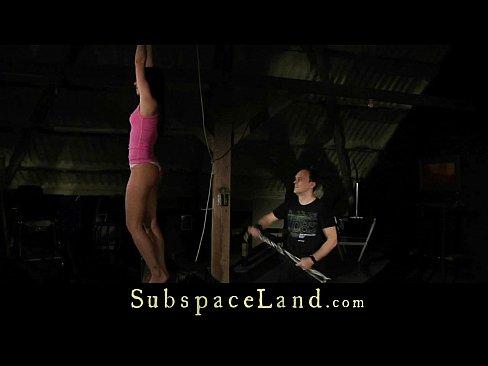 Discipline training for slutty bound teenie punished to swallow cumshot