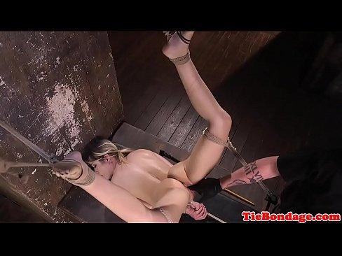 Spreadeagle bdsm sub restrained for fingering