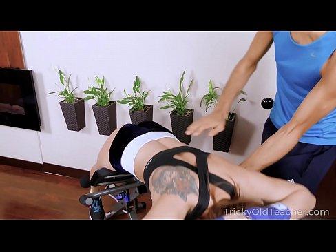 Tricky Old Teacher - Kneeled cutie serves a giant dick