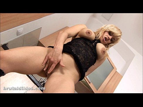 Blonde bombshell swallows a brutal dildo and squirts