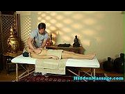 Faketit beauty banged on the massage table