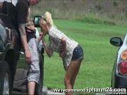 Blondy sucks outdoors