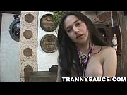 Foxy brunette tranny babe stroking her schlong Thumbnail