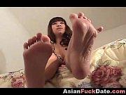 asian close up foot worship