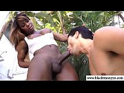 Black shemale outdoors gets blowjob in high def
