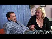 blonde grandma gets slammed by two.