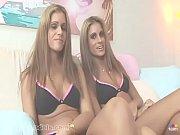 Skinny blonde twins take turns sucking a big cock