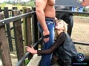 Slender blonde Leslie Taylor enjoys screwing two cocks at the barn