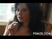 Naked hottie smoking while wet