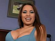 brunette in blue gets facial cumshot