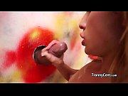 tgirl sucking cock behind the wall