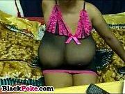 Big tits black babe teasing
