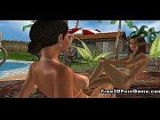 3D lesbian babes do the nasty on the beach