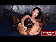 Lingerie loving thai ts strokes her prick