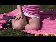 Sweet teenie pleasuring herself outdoors Thumbnail