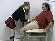 Schoolgirl sucks and handjobs her professor'_s cock