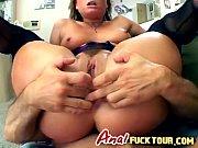 Kinky brunette babe feels the joy of double penetration