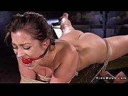 Gagged hogtied slave pussy fingered