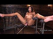 Long legged Latina babe on fucking machine Thumbnail