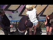 Blonde slave banged in subway entrance in public
