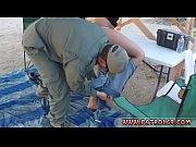 Police associate Nasty border patrool surveys pretty brunette with