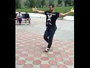 Russian dagestan arab guy is dancing amazing arabian dance in the street