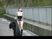 goth babe in furry coat pisses.
