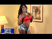 Stockings ebony tranny plays with her hole