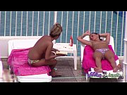 Topless sisters tanned and oiled up with pierced nipple &amp_ tattoos 3of3