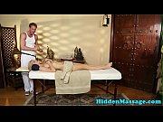 Busty babe deepthroating masseurs dick
