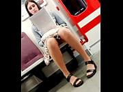 Upskirt girl in nylon