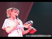 Sexy brunette babe receive award Thumbnail
