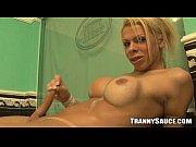 Sexy tranny hottie tugging her cock in the bathtub