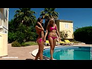 Hot tanned lesbians Lena and Kari have hot sex outdoors near the pool Bronzing L