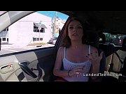 Redhead teen hitchhiker sucking in the car