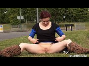 Redhead babe Isabels daring public masturbation and outdoor toying of sexy