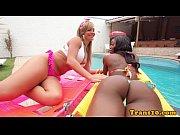 black latina tgirl cocksucked in twosome